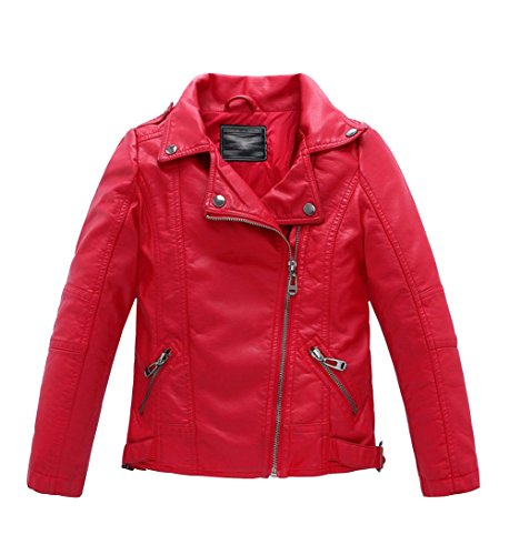 LOKTARC Boys Girls Spring Moto Faux Leather Jackets with Oblique Zipper Red 10-11 Years