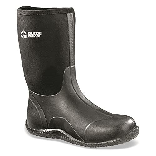 Guide Gear Men's Mid Bogger Waterproof Rubber Boots, Black, Black, 11D (Medium)