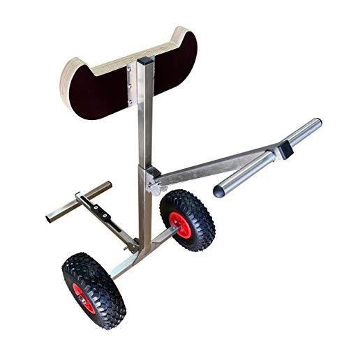 launchingwheels.com Carrito de motor fuera de borda para barco, soporte de carro para carro de carrito, estante de almacenamiento portátil, acero inoxidable. Modelo ligero