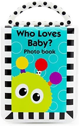 Sassy Developmental Look Book Photo Album | High Contrast Colors and Patterns | Drool Resistant Pages Hold Photos | Great Baby Shower Gift