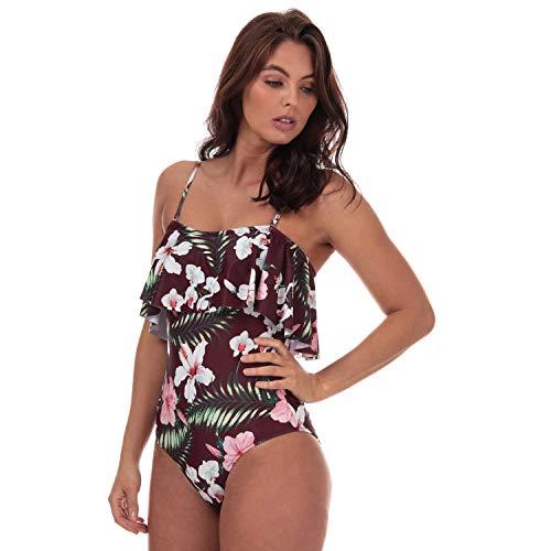 Vero Moda Paradise Badeanzug für Damen, schmeichelhafte und feminine Rüschen vorne Gr. 40, rot