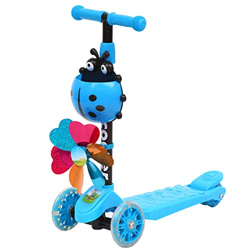 ruiruiNIE Windmill Ladybug Scooter Plegable y Ajustable en Altura Lean to Steer Scooters de 3 Ruedas para niños pequeños Niños Niños Niñas 3-8 años Triciclo Ladybug Windmill Blue