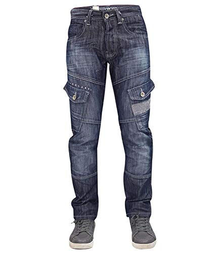 Designer-Hose für Herren von Crosshatch, sandgestrahlt, geknöpfter Hosenschlitz, Cargo-Jeans, normale Passform Gr. 44W x 30L, Dark Wash