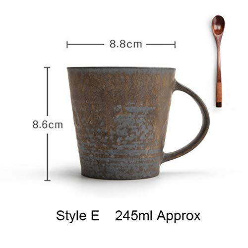 Japanese Style Creative Vintage Coarse Pottery Coffee Mug Ceramic Master Tea Cup Handmade Teacup Birthday gift,E