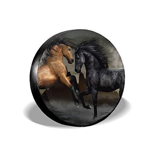 "VTIUA Horse Polyester Universal Sunscreen Funda para Rueda de Repuesto para Weatherproof for Jeep,Trailer,RV,SUV,Truck and Many Vehicles 14"" 15"" 16"" 17"""