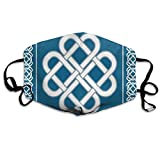 Comfortable Windproof mask,Celtic Love Knot Good Fortune Symbol Framework Border Historical Amulet Design Theme,Printed Facial decorations for adult
