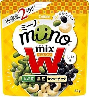 カルビー miinoMIX えだ豆 黒豆 カシューナッツ W しお味 X1箱(12袋)