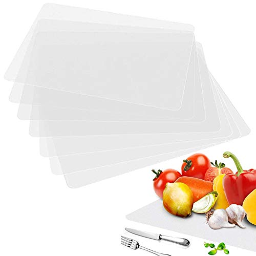 8 PCS Washable Clear PlacematsPlastic PlacematsHeat Resistant Placemats Dining Mats for TableDiningKitchen17 x 11 Inch