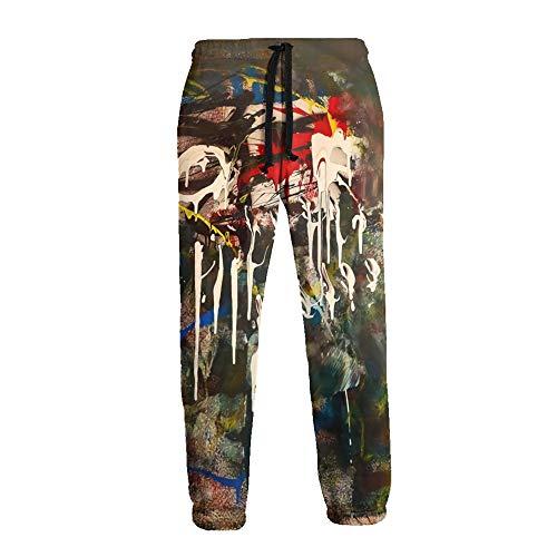 LAOLUCKY Herren Sweatpants Jogger Jersey Pants Sporthose Gr. 31-35, Dj Muggs Al Divino Kilogramm weiß