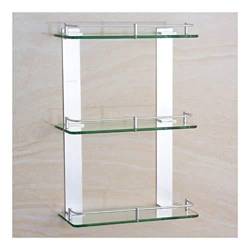 WZNING Estante esquinero de baño con riel de 3 niveles montado en la pared para cocina, vidrio templado grueso de aluminio, 60,9 cm (color: 500 mm, tamaño: 120)