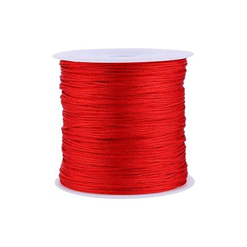 Haofy Cuerda de Nylon Cordón de Nylon Cuerda Trenzada Cuerda de Nudo Chino Cola de Ratón Macramé para Pulsera Collar Joyas DIY 100M x 0.8mm (Rojo)