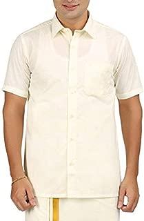 RIRO Focus Men's Plain Silk Cotton Traditional/Ceremony/Formal Half Sleeve Shirt,Cream