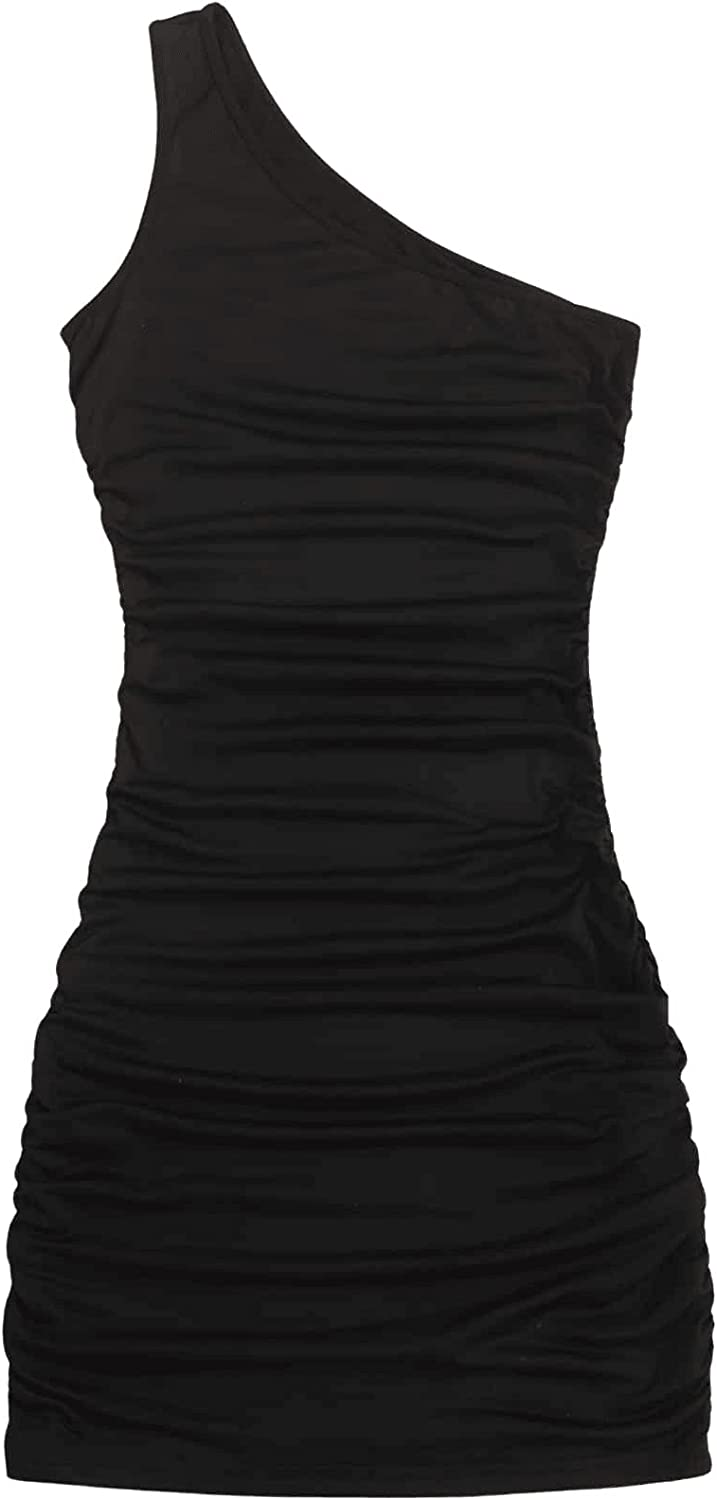 Floerns Women's One Shoulder Sleeveless Ruched Party Bodycon Mini Dress