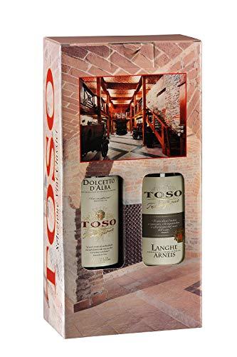 Toso S.p.a Toso S.P.A Confezione Vino Rosso Dolcetto D'Alba Doc, Vino Bianco Langhe Doc Arneis, Piemonte, 2 Bottiglie, 2 X 750Ml - 1500 ml