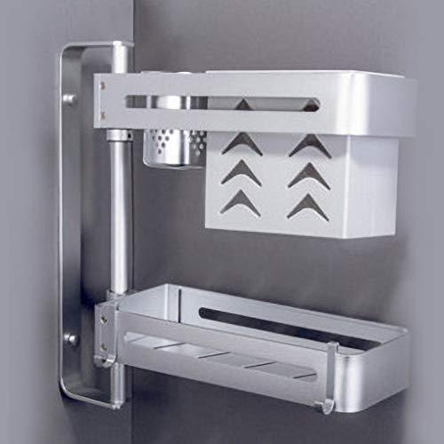 Kruidenrekken voor wandmontage, met stanssjabloon, draaibare planken, multifunctioneel, voor het opbergen in keuken, badkamer en kantoor, zilver