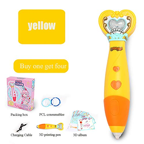HYwot New Ba Lala 3D Printing Pen,Charging/Low Temperature/Wireless Student Doodler Pen Stereo Drawing Pen,Best Birthday Holiday Girl Gifts,Yellow