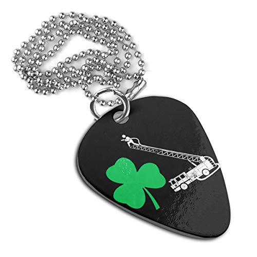 seaEagle Shamrock Firefighter Fire Truck Pet Tag Stainless Steel Guitar Pick Necklace Pendant