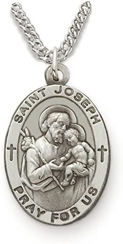 TrueFaithJewelry Customizable Sterling Silver Oval Saint Joseph Patron of Fathers Medal 7 8 product image