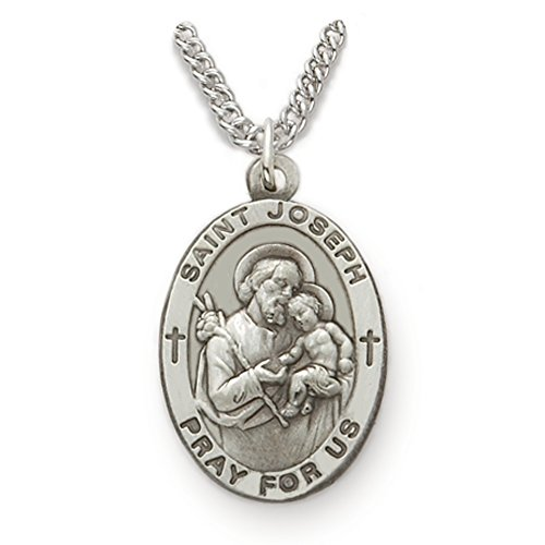 True Faith Jewelry Sterling Silver Oval Saint Joseph Patron of Fathers Medal, 7/8 Inch