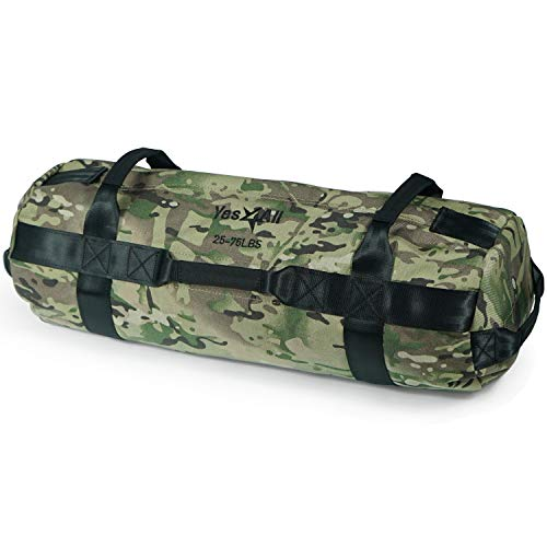 Yes4All Sandbag Weights/Weighted Bags - Sandbags for Fitness, Conditioning, Crossfit with Adjustable Weights (Camouflage - M)