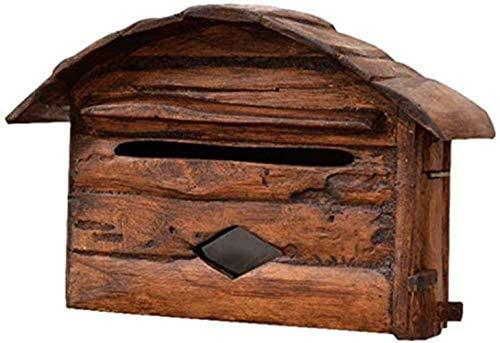 YONGYONGCHONG Buzón de pared de madera maciza retro resistente al agua Suggestion Box Complaint Box Suggestion Letterbox Caja de seguridad