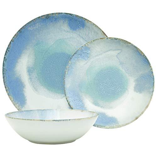 Amazon Brand – Rivet Modern Reactive-Glaze Stoneware 18-Piece Dinnerware Set, Service for 6, Azure Watercolor
