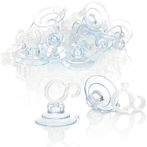 com-four® 20x Saugnapfhalter mit Cliphaken für Lichterketten - Saugnäpfe in transparent - Halterung mit Saugnapf für Deko an Weihnachten, Ostern, Silvester