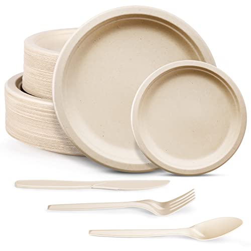 250pcs Compostable Paper Plates Set - Extra Long Utensils, Biodegradable Plates Heavy-Duty Paper Plates Cutlery Disposable Dinnerware Set for Party Camping Picnic Made of Sugar Cane Fibers