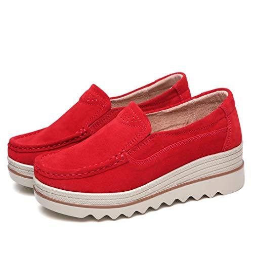 Calor De Invierno Zapatos De Muffin para Mujer Plataforma Suede Slip On Mocasines Mocasines De Fondo Grueso Casual Zapatos De Cuña Resistentes Al Desgaste Cómodo