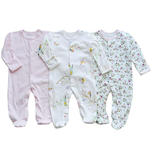 Bebé Mameluco de Algodón Piezas de 3, Recién Nacido Pelele Niño Niña Pijama Monos Manga Larga...
