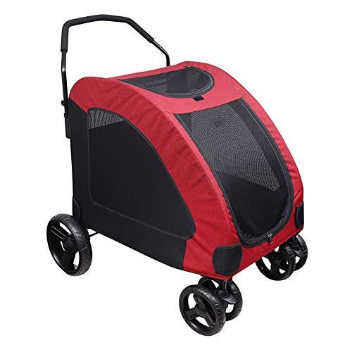 Amo-Lole Cochecito Perro - Grande 50 Kg Capacidad De Carga Cochecito para Mascotas para Grande Y Mediano Talla Perro & Gato - Plegable Carro para Mascotas para Viajes Y Saliente con 4 Ruedas,Rojo