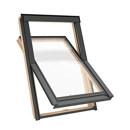 Solstro AAX B500 Dachfenster, Kiefer-Natur-Finish, kombiniert mit Universal-Eindeckrahmen - M6A, 78 x 118 cm