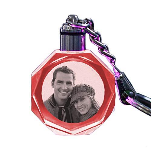Personaliseer Uw Eigen Foto-Geëtste Laser Aangepaste Led-Laser Gegraveerde Kristallen Glazen Sleutelhanger