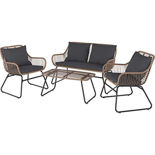 Lounge-Set mit Esstisch Willmar 4-teilig aus Polyrattan Braun | Witterungs- und UV-beständige Gartenmöbel und leicht zu reinigender Tischplatte aus Glas