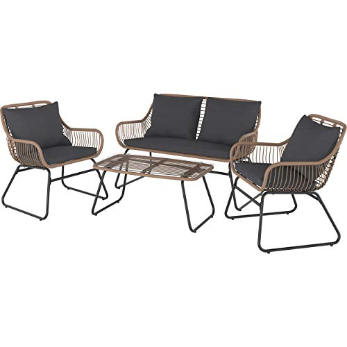 Euromate GmbH Lounge-Set mit Esstisch Willmar 4-teilig aus Polyrattan Braun | Witterungs- und UV-beständige Gartenmöbel und leicht zu reinigender Tischplatte aus Glas