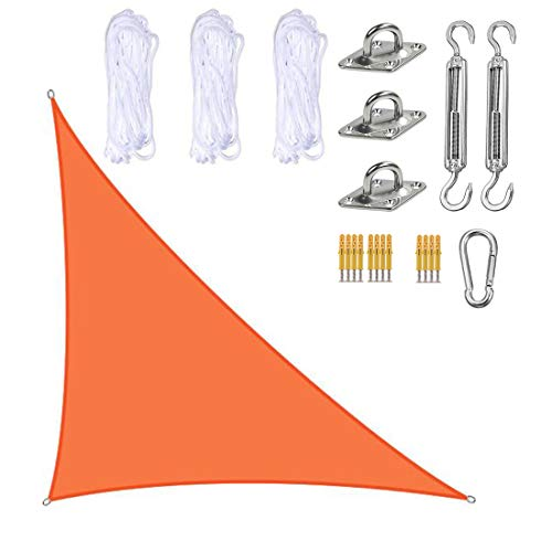 ZJM Triangle Sun Shade Sail, 3X4x5m Paño De Parasol 98% Toldo De Bloque UV con Kit De Fijación, para Patio Al Aire Libre, Patio Trasero,F