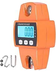 Bilancia digitale, anello in acciaio inox, con gancio per appendere, display LCD, portatile, 300 kg, in lega di alluminio, strumento di pesatura per casa e affari, arancione