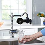 PUR PFM100B Faucet Water Filtration System, Horizontal, Black 16 PUR ADVANCED FAUCET WATER FILTER:PUR Advanced Faucet Filter in Chrome attaches to your sink faucet, for easy, quick access to cleaner, great-tasting filtered water. A CleanSensor Monitor displays filter status, so you know when it needs replacement. Dimensions: 6.75 W x 2.875 H x 5.25 L FAUCET WATER FILTER: PUR's MineralClear faucet filters are certified to reduce over 70 contaminants, including 99% of lead, so you know you're drinking cleaner, great-tasting water. They provide 100 gallons of filtered water, or 2-3 months of typical use WHY FILTER WATER? Home tap water may look clean, but may contain potentially harmful pollutants & contaminants picked up on its journey through old pipes. PUR water filters, faucet filtration systems & water filter pitchers reduce these contaminants