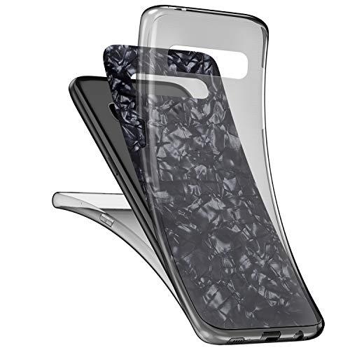 JAWSEU Compatible avec Samsung Galaxy S10 Plus Coque Glitter Paillette Brillant 360 Degrés Silicone TPU Transparente Case Cristal Clair Ultra Mince Flexible Souple Gel Bumper Case,Noir