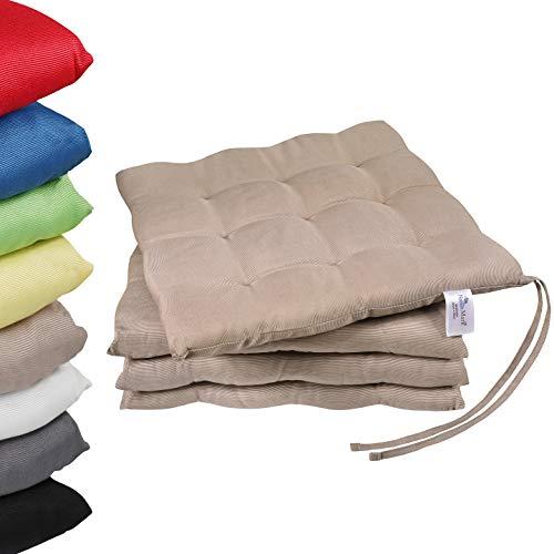 NatureMark 4er Set Stuhlkissen mit Bändern Gr. 40x40 cm Sitzkissen gefüllt, Sand/Beige