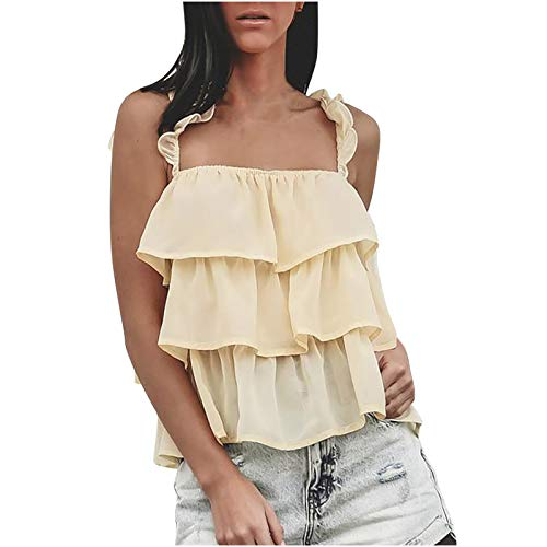 sunnymi Camisetas para mujer, verano, sin mangas, con volantes, blusa beige XL