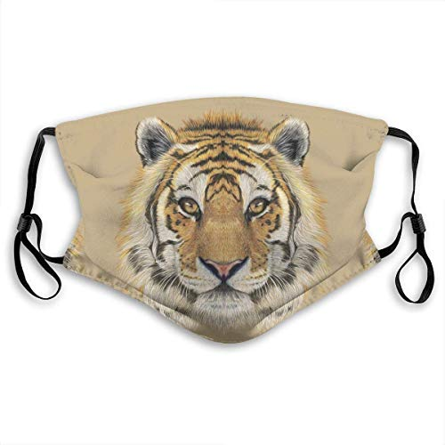 Fashion Mouth Mask Reusable Anti-Dust Mask Tiger Animal Face Printing Unisex Face Mask Anti Smog Respirator with 2 Replaceable Filters for Outdoor Activities Cycling Camping for Children