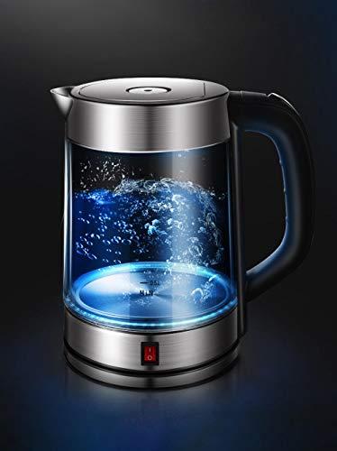 PAXF Wasserkocher Glass, Electric Liter Für Tee Und Wasser Led-Anzeige, Automatische Abschaltung Und Überhitzungsschutz, 100% Edelstahl Innendeckel & Boden