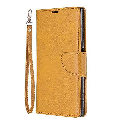 Docrax Handyhülle Lederhülle für Sony [Xperia XA1 Plus], Flip Case Schutzhülle Hülle mit Standfunktion Kartenfach Magnet Brieftasche für Sony Xperia XA1 Plus - DOBFE150580 Gelb