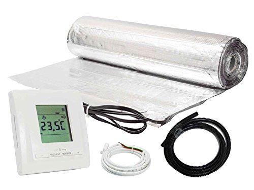 Komplett-Set elektrische Fußbodenheizung für Parkett/Laminat digitales Thermostat (4 m² - 0.5 m x 8 m)
