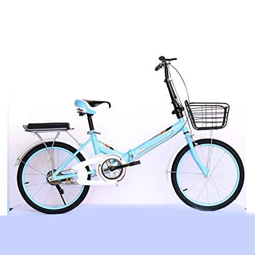 Bicicletta Pieghevole Adulto Leggera,20\'\' Bici Pieghevole,Leggero Alto Tenore di Carbonio Telaio in Acciaio, Pieghevole Città Compatta for Bicicletta Urbano Commuter con Portapacchi (Color : Blue)