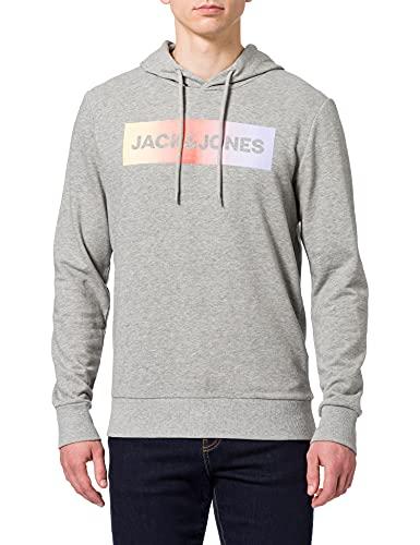 Jack & Jones JACBRAD LS Hoodie Sudadera con Capucha, Gris Claro, XL para Hombre