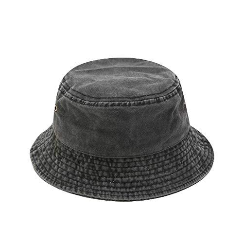 KeepSa Sombrero de Pescador de Mezclilla Color sólido Verano Gorras para el Sol Hombre/Mujer 100% Algodón Plegable Cubo Pescador Sombrero Retro para Verano Playa de Arena Vivac Dar un Paseo