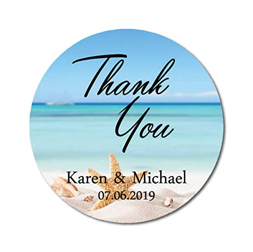 Darling Souvenir Round Starfish Beach Photo Thank You Stickers Personalized Bride Groom Names and Date Envelope Seals-45 Pieces