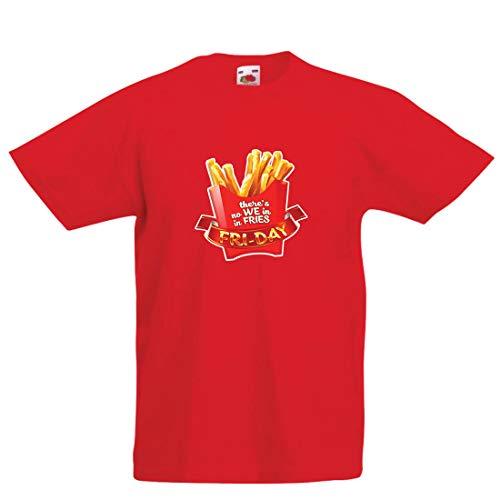lepni.me Camiseta para Niño/Niña No Hay Nosotros con Patatas Fritas, Ropa de Viernes, Amante de la Comida chatarra (9-11 Years Rojo Multicolor)